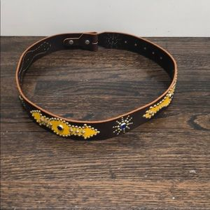 Accessories - Studded genuine leather belt